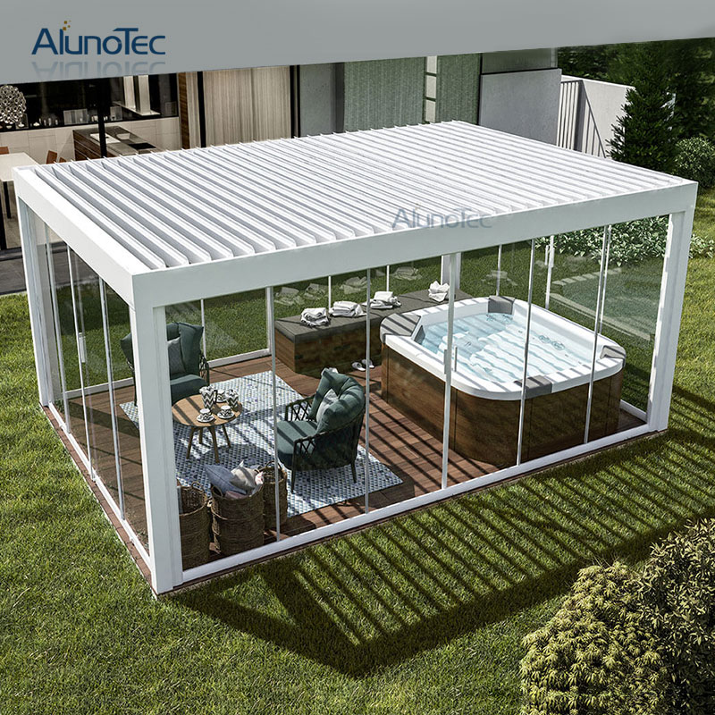 Outdoor Retractable Awning Aluminum Pergola With Led Light