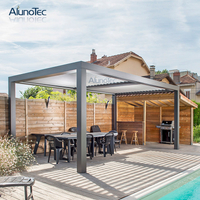 Waterproof Folding Pergola Sunshade Awning Gazebo With Operable Louvers